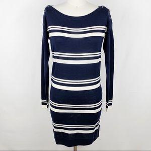 Lacoste Wool Boat Neck Sweater Dress